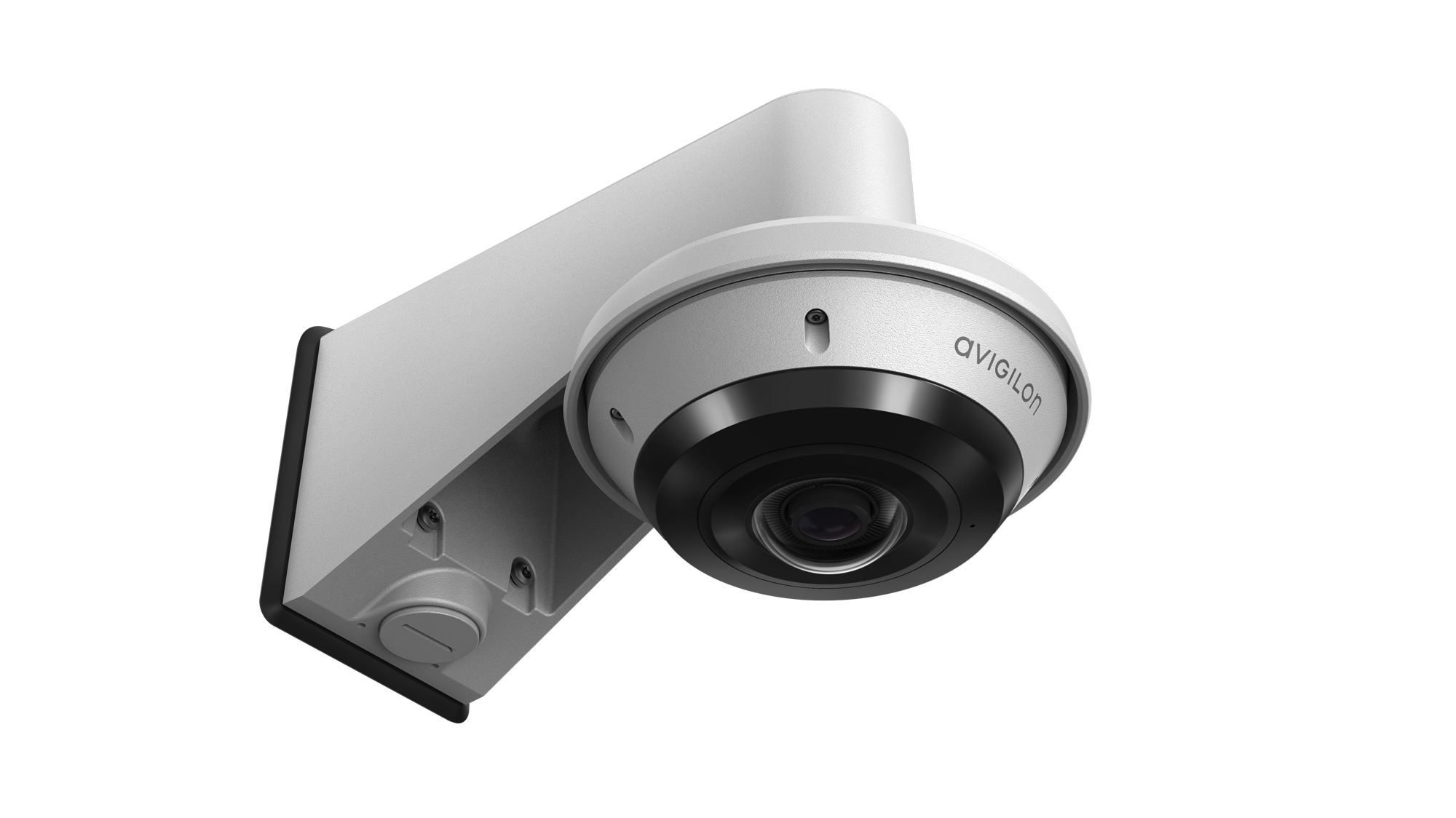 H5A Fisheye Camera, Surface Mount with Wall Arm (right ¾ view)
